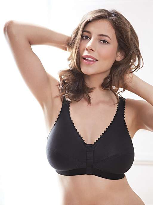Comfi-Bra Front Close Leisure or Sleep Bra - Black