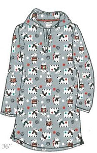 Microfleece Hooded Lounger Sleepshirt - Polar Bears