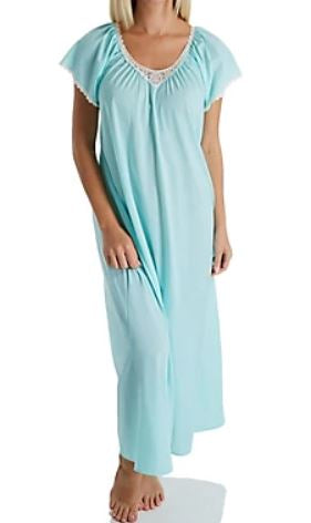 Cameo Nylon Tricot Short Sleeve Long Gown 32123 - Seafoam