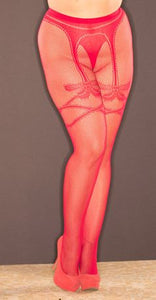 Faux Garter Bow Fishnet Pantyhose 8640 - Red
