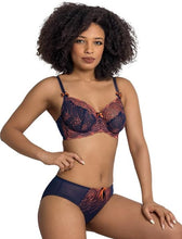 Load image into Gallery viewer, Nicole See-Thru Lace Bra - Navy/Coral