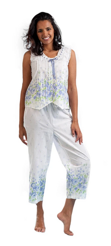 100% Cotton Border Print Sleeveless Pajamas 1487-2 - Meadow Mist