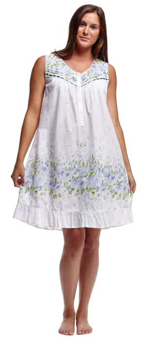 100% Cotton Sleeveless Ribbon Laced Chemise 1209C - White with floral