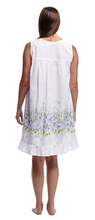 Load image into Gallery viewer, 100% Cotton Sleeveless Ribbon Laced Chemise 1209C - White with floral