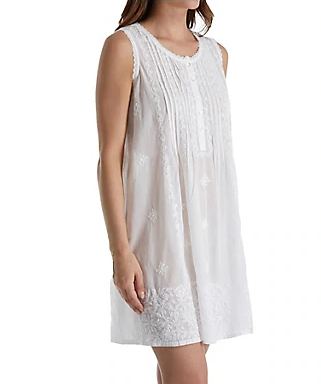 100% Cotton Woven Sleeveless Embroidered Gown 1104C - White