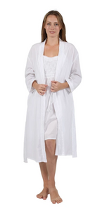 100% Cotton Embroidered Robe 1187R - White