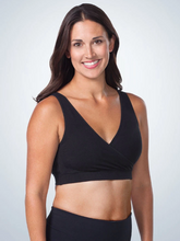 Load image into Gallery viewer, Harmony - Cotton Crossover Sleep, Leisure or Nursing Bralette 4011 - Black