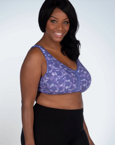 110 Meryl - Front Close Leisure Bra - Lavender Floral Camo