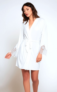 Lace Trimmed Robe 78002 - White