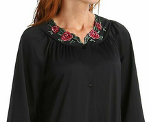 Load image into Gallery viewer, Long Sleeve Button Down Robe 71280 - Black