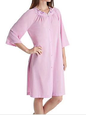 Short 3/4 Sleeve Button Down Robe 77280 - Orchid