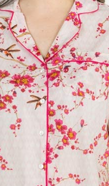 100% Cotton 3/4 Sleeve Pyjamas 1477 - Magenta Blossoms