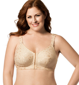 Jacquard Front Close Soft Cup Wireless Bra 1515 - Beige