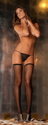 Fishnet Stay-up Thigh Highs with Backseam 8011 - Black