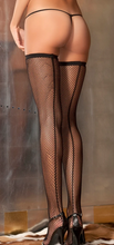 Load image into Gallery viewer, Fishnet Stay-up Thigh Highs with Backseam 8011 - Black