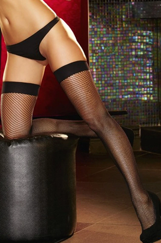 Fishnet Stay-up Thigh Highs 1007 - Black