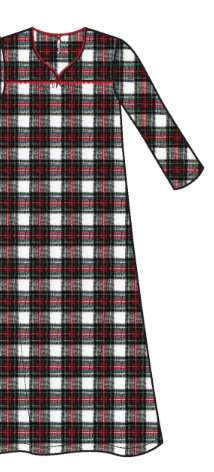 Flannel Long Gown 11435 - Red Plaid