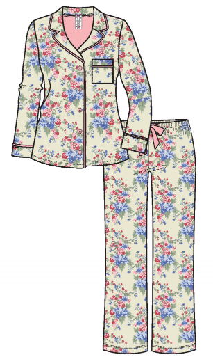 Flannel Pyjamas 15175 - Flowers
