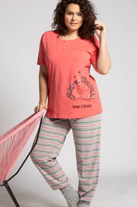 Eco Cotton Hedgehog Love Pyjamas 74923052 - Light Strawberry