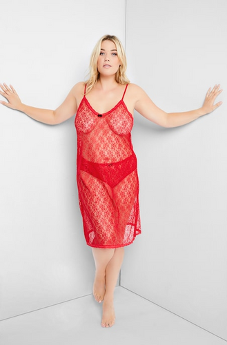 Lace Negligee with Spaghetti Straps 791649530 - Red