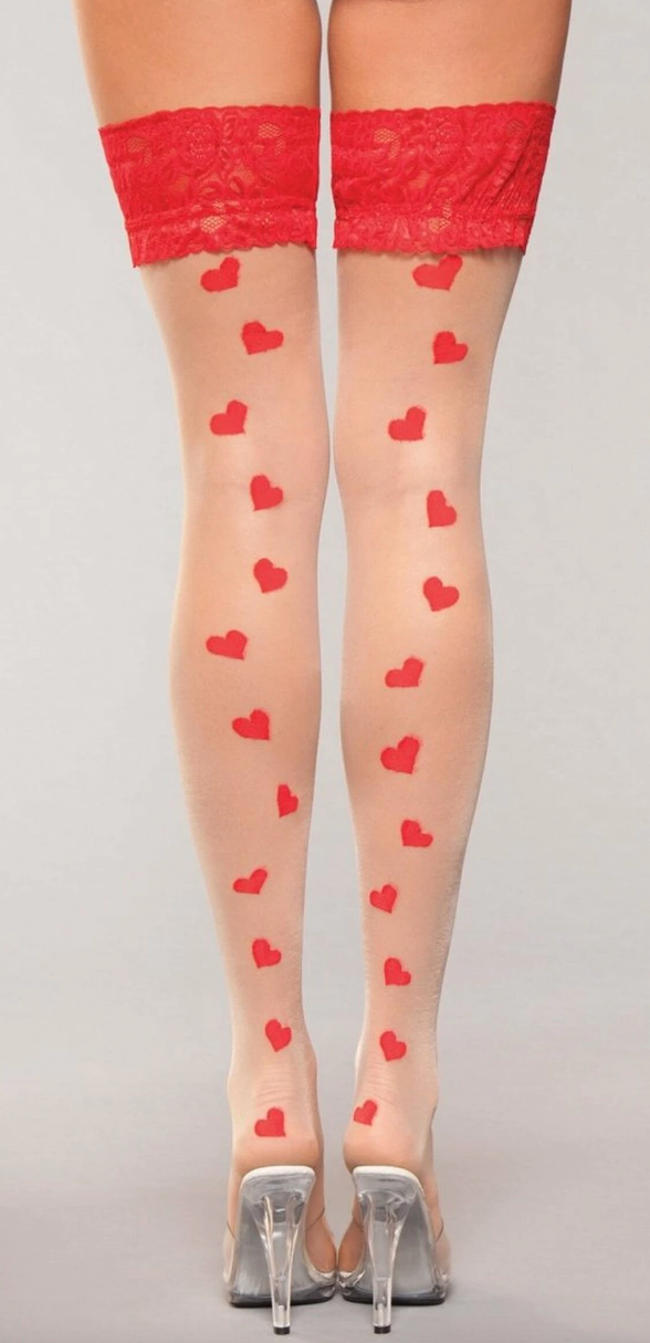 Sweetheart Hearts Stay-Up Thigh Highs BWH800 - Red