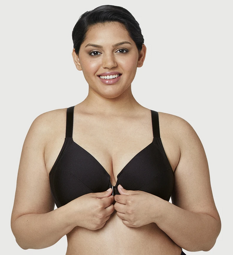 1247 Front Close Smoothing T-Shirt Underwire Bra - Black
