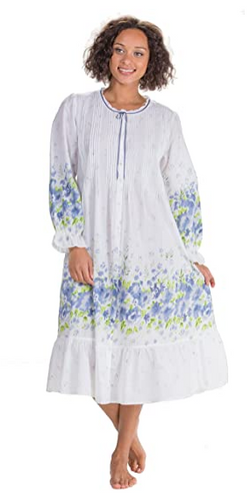 100% Cotton Button Front Gown or Robe 1277R - Meadow Mist