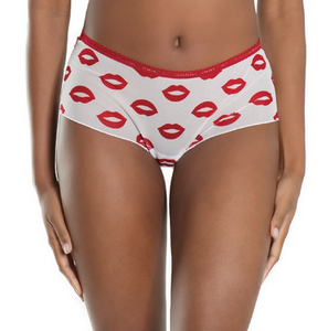 Lip Print Booty Shorts 2573P - White and red