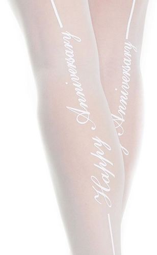 Happy Anniversary Lace Top Back Seam Thigh Highs 1910 - White