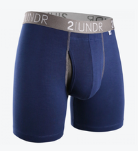 "Load image into Gallery viewer, 2UNDR 6"" Swing Shift Boxer Brief - Navy/Grey"