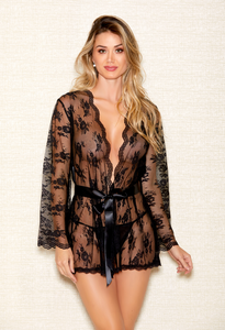 Black Scallop Lace Robe 7815