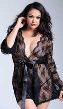Load image into Gallery viewer, Black Scallop Lace Robe 7815
