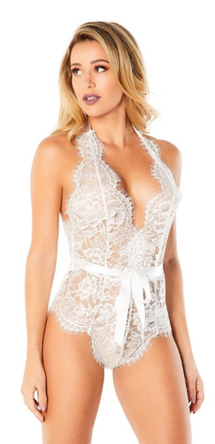 Eyelash Lace Halter Teddy - White