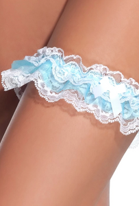 Ruffled White & Blue Lace Garter