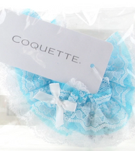 Load image into Gallery viewer, Ruffled White & Blue Lace Garter