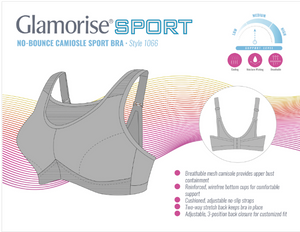1066 No-Bounce Wireless Camisole Sport Bra - Soft Gray