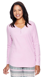 Solid Long Sleeve Ribbed Pyjama Top