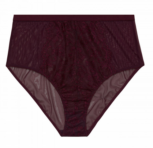Bella Lace High Waist Brief PPGHW041P - Aubergine