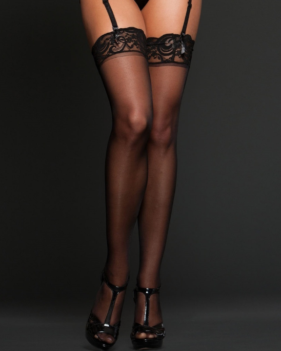 Sheer Lace Top Thigh Highs 8601 - Black