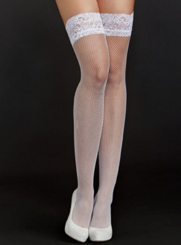 Fine Fishnet Thigh Highs 8633 - White