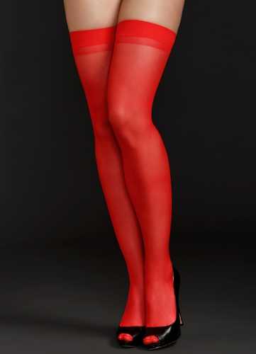 Sheer Thigh Highs 8600 - Red