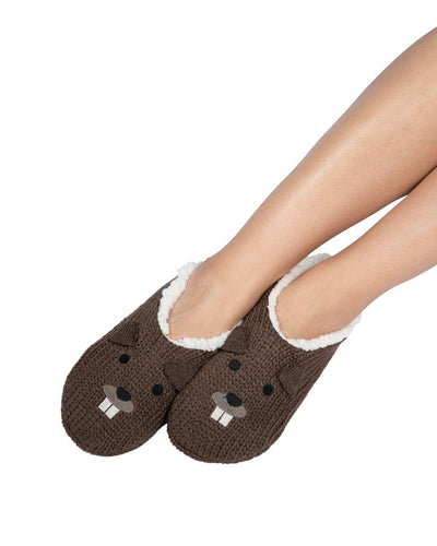 Coffee Shoppe Critter Ankle Slippers - Beaver
