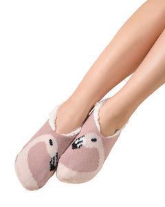Coffee Shoppe Critter Ankle Slippers - Flamingo