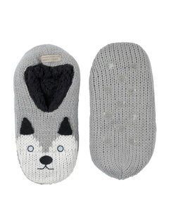 Coffee Shoppe Critter Ankle Slippers - Husky