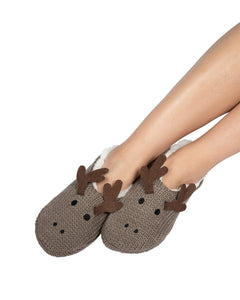 Coffee Shoppe Critter Ankle Slippers - Moose