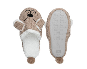 Coffee Shoppe Critter Slide Slipper with hard-bottom sole - Puppy