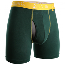 "Load image into Gallery viewer, 2UNDR 6"" Swing Shift Boxer Brief - Dark Green/Gold"