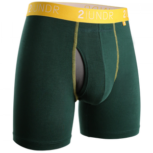"2UNDR 6"" Swing Shift Boxer Brief - Dark Green/Gold"