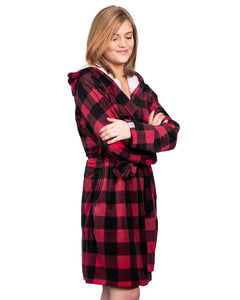 Coffee Shoppe Stay-at-Home Hooded Lounge Robe - Deep Red Buffalo Plaid