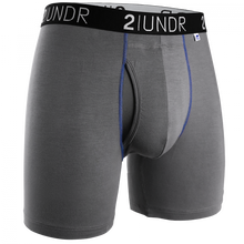 "Load image into Gallery viewer, 2UNDR 6"" Swing Shift Boxer Brief - Grey/Blue"